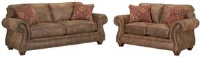 Laramie 5081QASL/7591-85/5763-85 2-Piece Living Room Set with Queen Air Dream Sofa Sleeper and Loveseat in 7591-85 Brown with 5763-85 Pillows