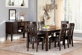 Natashia Collection 8-Piece Dining Room Set with Extendable Table, 6 Side Chairs and Server Cabinet in Dark Brown Finish