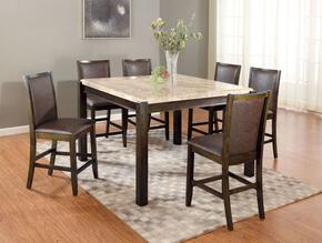 Charissa 70755T6C 7 PC Bar Table Set with Counter Height Table + 6 Chairs in Dark Walnut Finish