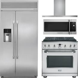 """4-Piece Stainless Steel Kitchen Package with ZISP420DKSS 42"""" Side by Side Refrigerator, ZDP366NPSS 36"""" Freestanding Dual Fuel Range, ZV800SJSS 36"""" Wall Mount Hood, and ZSA1201JSS 30"""" Over the Range Microwave"""