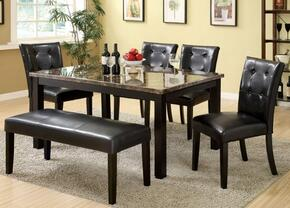 Boulder I Collection CM3870T4SCBN 6-Piece Dining Room Set with Rectangular Table, 4 Side Chairs and Bench in Black Finish