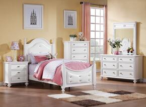 Athena 30200T5PC Bedroom Set with Twin Size Poster Bed + Dresser + Mirror + Chest + Nightstand in White Color