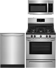 "3-Piece Stainless Steel Kitchen Package with FFGF3054TS 30"" Freestanding Gas Range, FFID2426TS 24"" Fully Integrated Dishwasher and FFMV1645TS 30"" Over-the-Range Microwave"