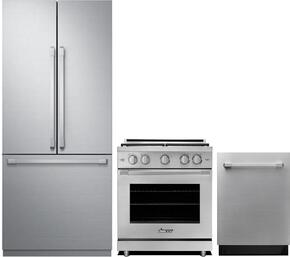 "3-Piece Stainless Steel Kitchen Package with DRF367500AP 36"" French Door Refrigerator, RNRP30GSNG 30"" Slide-in Gas Range, and DDW24S 24"" Fully Integrated Dishwasher"