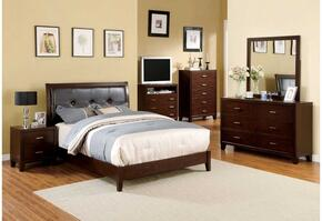 Enrico I Collection CM7068Q-5PC-2NS 5 PC Bedroom Set with Queen Size Platform Bed + Dresser + Mirror + 2 Nightstands in Brown Cherry Finish