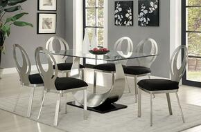 Orla Collection CM3726T6SC 7-Piece Dining Room Set with Rectangular Table and 6 Side Chairs in Silver/Black