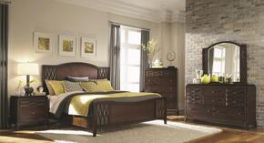 203301Q5PC Salisbury Queen Size Panel Bed with Dresser, Mirror, Chest and Nightstand in Cherry Finish