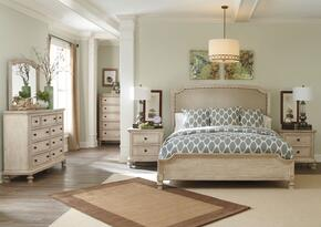 Demarlos King Bedroom Set with Upholstered Panel Bed, Dresser and Mirror in Parchment White