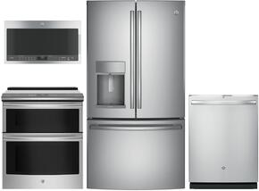 "4-Piece Kitchen Package with PFE28KSKSS 36"" French Door Refrigerator, PS960SLSS 30"" Slide-in Electric Range, PVM9005SJSS 30"" Over the Rage Micorwave Oven and GDT695SSJSS 24"" Built In Fully Integrated Dishwasher in Stainless Steel"