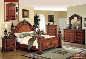ROYALPANELKSET Royal Cherry Finished King Sized Panel Bed + 2 Nightstands + Dresser + Mirror
