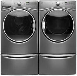 "Washer and Dryer Package with WFW85HEFC 27"" Front Load Washer, WGD85HEFC 27"" Gas Dryer and 2 XHPC155YC Pedestal, in Chrome Shadow"