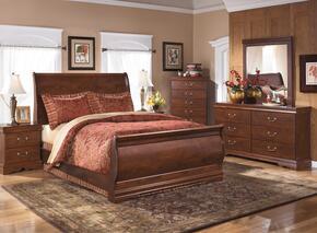 Wilmington Queen Bedroom Set with Sleigh Bed, Dresser, Mirror and Nightstand in Reddish Brown