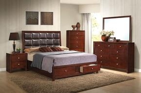 Ilana 24587EK5PC Bedroom Set with Eastern King Size Bed + Dresser + Mirror + Chest + Nightstand in Brown Cherry Finish