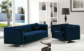 Isabelle Collection 6122PCARMKIT1 2-Piece Living Room Sets with Stationary Sofa, and Living Room Chair in Navy