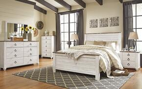 Willowton Queen Bedroom Set with Panel Bed, Dresser, Mirror and Single Nightstand in Whitewashed Color