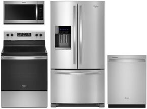 "4 Piece Kitchen Package With WRF555SDFZ 36"" French Door Refrigerator, WFE525S0HZ Electric Range, WMH32519HZ 30"" Over the Range Microwave Oven and WDT750SAHZ 24"" Built In Dishwasher in Stainless Steel"