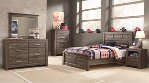 Juararo Full Bedroom Set with Panel Bed, Dresser and Mirror in Aged Brown