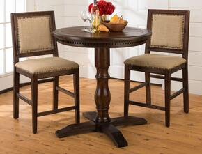 678-36TBKTSET Geneva Hills Bistro Table and 2 Upholstered Stools