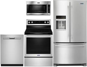 "4 Piece Kitchen Package With MER8800FZ 30"" Electric Range, MMV4205FZ Over the Range Microwave Oven, MFI2570FEZ 36"" French Door Refrigerator and MDB4949SDZ 24"" Built In Dishwasher In Stainless Steel"