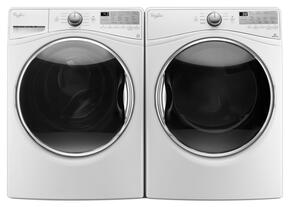 """White Front Load Laundry Pair with WFW90HEFW 27"""" Washer and WGD90HEFW 27"""" Gas Dryer"""