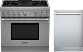 "2 Piece Stainless Steel Kitchen Package With PRL364NLH 36"" Gas Freestanding Range and DWHD440MFM 24"" Dishwasher For Free"