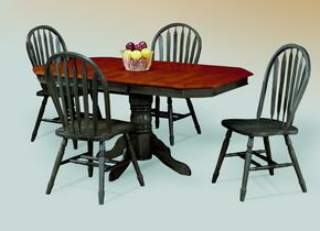 Sunset Selections Collection DLU-TCP3660-820-AB5PC 5 Piece Dining Set with Oval Table + 4 Antique Black Arrowback Chairs