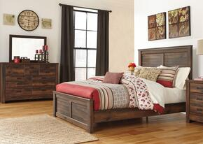 Quinden Queen Bedroom Set with Panel Bed, Dresser and Mirror in Dark Brown