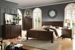 Brooklyn 23684CK5PC Bedroom Set with California King Size Bed + Dresser + Mirror + Chest + Nightstand in Espresso Finish