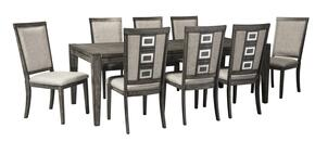 Chadoni D624ET8C 9-Piece Dining Room Set with Rectangular Extension Dining Room Table and 8 Dining Room Side Chairs in Grey
