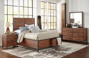 Studio 16 Collection 1663858687KT4SET 4 PC Bedroom Set with Queen Size Storage Bed + Dresser + Mirror + Nightstand in Wire Brushed Finish