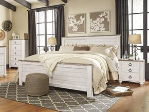 Willowton King Bedroom Set with Panel Bed and Single Nightstand in Whitewashed Color
