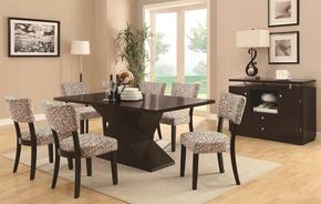 103160 Libby Dining Table + Four Chairs + Server with Hourglass Base, Poplar Solids, Birch Veneers, Straight Clean Lines and Subtle Curves in Cappuccino Finish