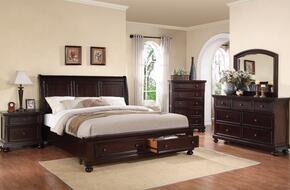 24610QDMCN Grayson Queen Size Storage Bed + Dresser + Mirror + Chest + Nightstand in Dark Walnut Finish