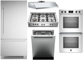 "5-Piece Stainless Steel Kitchen Package with REF30PIXR 30"" Bottom Freezer Refrigerator, CB36600X 36"" Gas Cooktop, MASFD30XV 30"" Electric Double Wall Oven, KU30PRO1XV 30"" Wall Mount Hood, and DW24XV 24"" Fully Integrated Dishwasher"