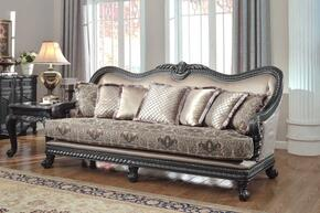 Florence 618-S-CH 2 Piece Living Room Set with Sofa and Chaise in Black Finish