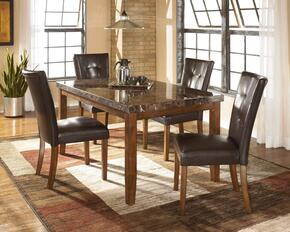 Lacey Collection 5-Piece Dining Room Set with Rectangular Dining Table and 4 Side Chairs in Medium Brown