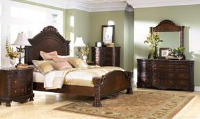 North Shore Collection Queen Bedroom Set with Panel Bed, Dresser, Mirror and Chest in Dark Brown