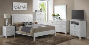 G1275AKBDMNTV 5 Piece Set including King Size Bed, Dresser, Mirror, Nightstand and Media Chest in White