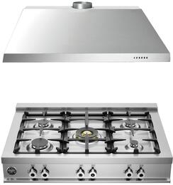 """2-Piece Stainless Steel Kitchen Package with CB36500X 36"""" Natural Gas Rangetop KU36PRO1X14 and 36"""" Range Hood"""