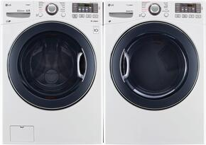 "White Front Load Laundry Pair with WM3770HWA 27"" Washer and DLEX3570W 27"" Electric Dryer"