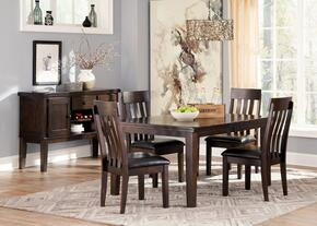 Natashia Collection 6-Piece Dining Room Set with Extendable Table, 4 Side Chairs and Server Cabinet in Dark Brown Finish