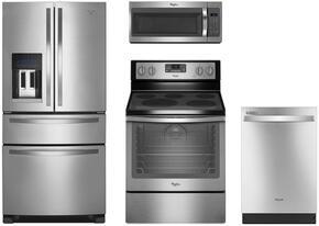 "4-Piece Stainless Steel Kitchen Package with WRX735SDBM 36"" French Door Refrigerator, WFE540H0ES 30"" Freestanding Electric Range, WMH31017FS 30"" Over the Range Microwave, and WDT710PAHZ 24"" Built-In Dishwasher"