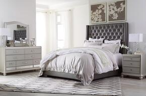 Coralayne Collection King Bedroom Set with Panel Bed, Dresser, Mirror and Nightstand in Gray
