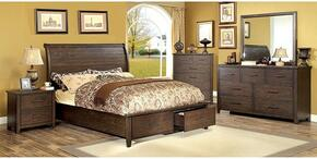 Ribeira Collection CM7252CKBDMCN 5-Piece Bedroom Set with California King Storage Bed, Dresser, Mirror, Chest and Nightstand in Dark Walnut Finish
