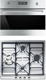 """Classic 2-Piece Stainless Steel Kitchen Package with SU45MCX1 24"""" Single Wall Speed Oven and SR60GHU3 24"""" Gas Cooktop"""