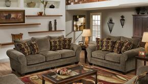 1837033953SL Clearlake Sofa + Loveseat with 16 Gauge Border Wire, Palmero Mosaic Toss Pillows, Kiln Dried Hardwood Frames and Hi-Density Foam Core Cushions in Masterpiece Mushroom