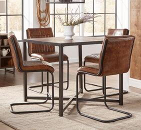 The Studio 16 5-piece dining room set with counter height table and 4 stools features square table shape with acacia solids, metal detailing in wire brush finish and genuine leather upholstered chairs. The Jofran's Studio 16 collection is an ideal additio