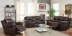 Xenos 52140SLR 3 PC Living Room Set with Sofa + Recliner + Loveseat with Console in Dark Brown Color