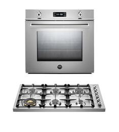 "Professional F30PROXT 30"" Single Electric Wall Oven 2 Piece Stainless Steel Kitchen Package with DB36600X 36"" Gas Cooktop"