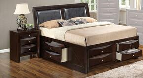 G1525IQSB4N 2 Piece Set including  Queen Size Bed and Nightstand  in Cappuccino